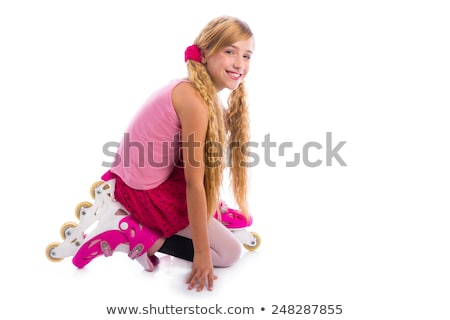 blond pigtails roller skate girl on her knees happy Stock photo © lunamarina