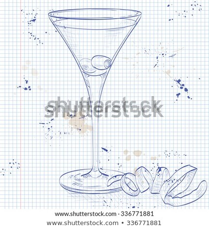 Cocktail Vesper mixed drink on a notebook page Stock photo © netkov1