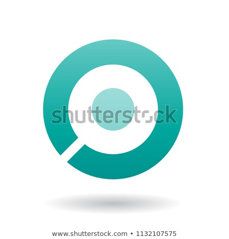 Bold Persian Green Icon for Letter O Vector Illustration Stock photo © cidepix