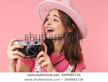 Fotó bájos lány kalap mosolyog retro Stock fotó © deandrobot
