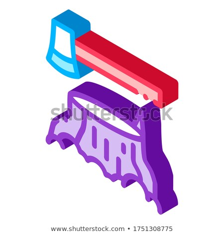 Tree Stub And Ax Hatchet isometric icon vector illustration Stock photo © pikepicture