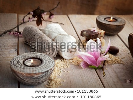 Candle And Soap On Bamboo Background Stok fotoğraf © mythja