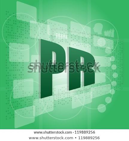 Pixelated Words Pr Public Relations On Digital Screen Stock fotó © fotoscool