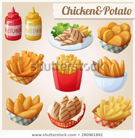 Crumbed chicken nuggets in a basket Stock photo © juniart