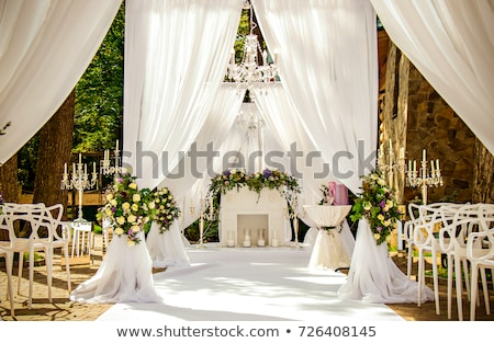 Stockfoto: Mooie · huwelijksceremonie · ontwerp · decoratie · communie · bloemen