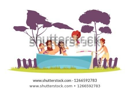 nő · férfi · gyerekek · medence · tábla · víz - stock fotó © Paha_L
