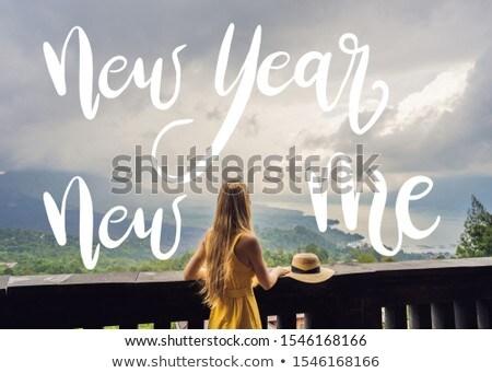 év új engem nő utazó néz Stock fotó © galitskaya