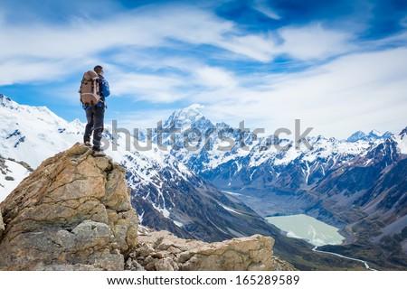 男 ハイキング 雪 山 冬 空 ストックフォト © vapi