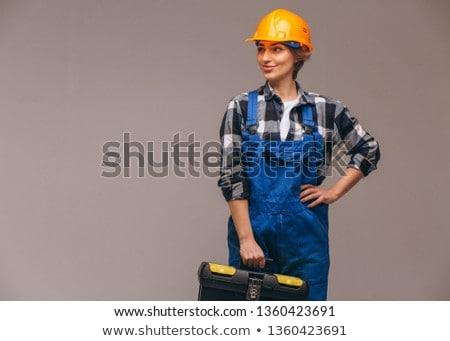 Привлекательная женщина работник ключа промышленности красный Сток-фото © photography33