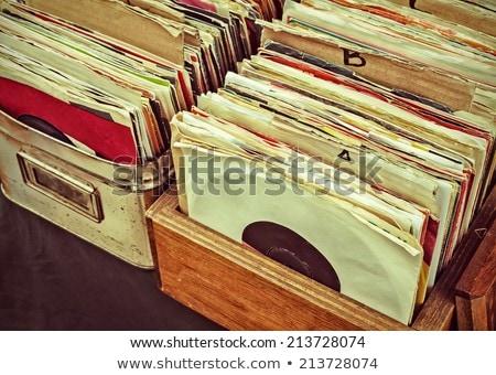 Conjunto vinil registros quatro música clube Foto stock © smuki