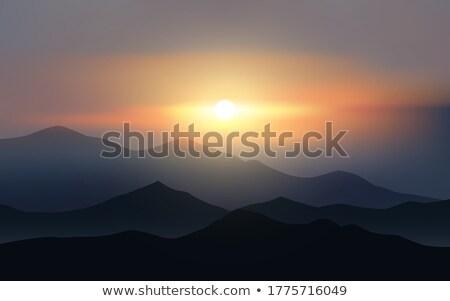 Foto stock: Puesta · de · sol · montana · colinas · colorido · cielo · fondo