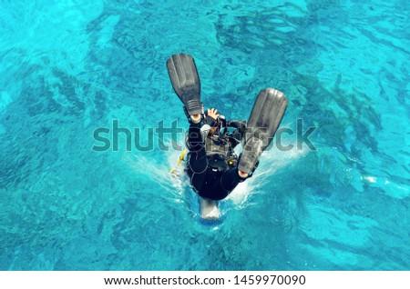 diver · immersione · mare · sport · blu · barca - foto d'archivio © galitskaya