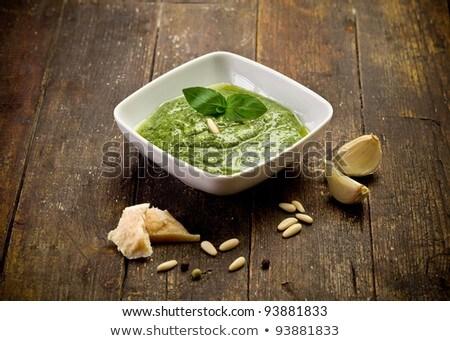 Bowl Of Pesto On The Wooden Table Stock fotó © Francesco83