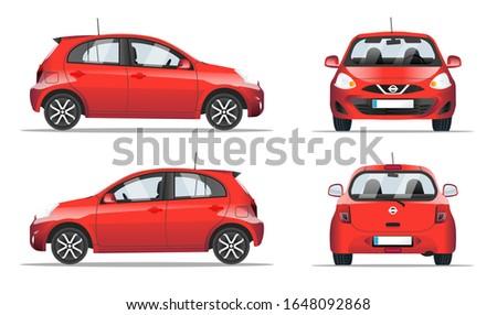 Kırmızı araba arkadan görünüm stil şablon Stok fotoğraf © MarySan