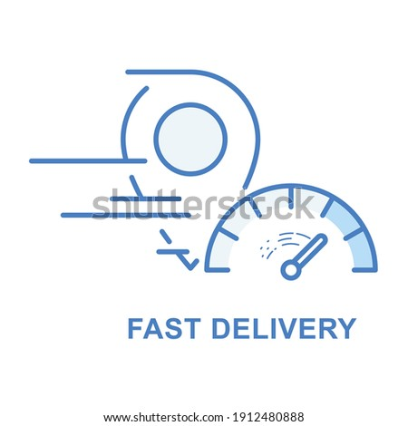 Fast delivery and speedy shipping icon - location marker and spe Stock photo © gomixer