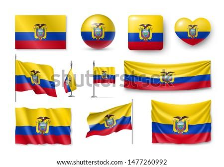 Vlag Ecuador vorm hart opschrift liefde Stockfoto © butenkow