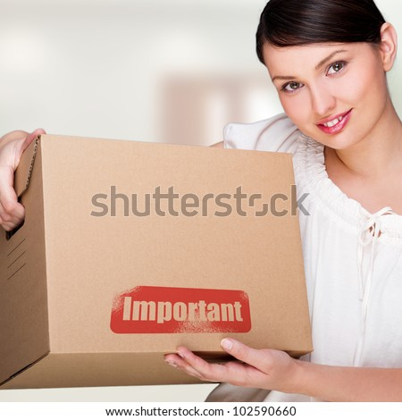 mulher · caixa · dentro · prédio · comercial · casa - foto stock © HASLOO