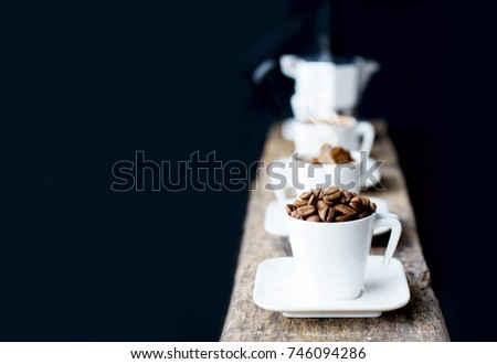 Stock photo: hot  boiling coffee, black and white