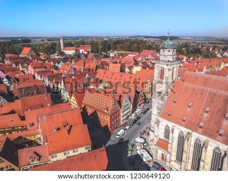 aerial of old medieval city of Dinkelsbuehl, Germany Stock photo © meinzahn