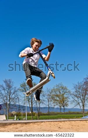gyermek · moped · boldog · sport · haj · fitnessz - stock fotó © meinzahn