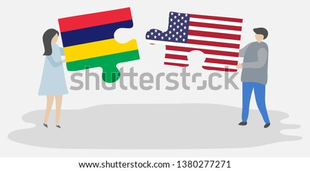 USA and Mauritius Flags in puzzle Stock photo © Istanbul2009