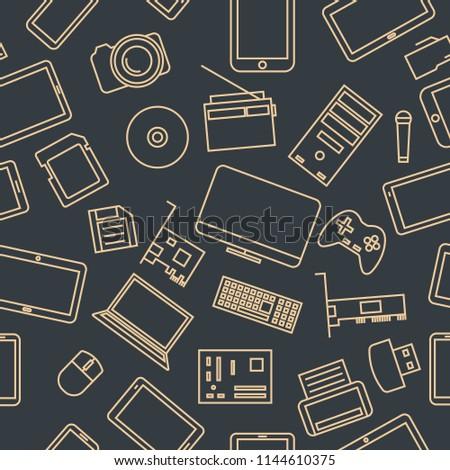 elektronikus · eszközök · laptop · fejhallgató · tabletta · drótnélküli - stock fotó © netkov1