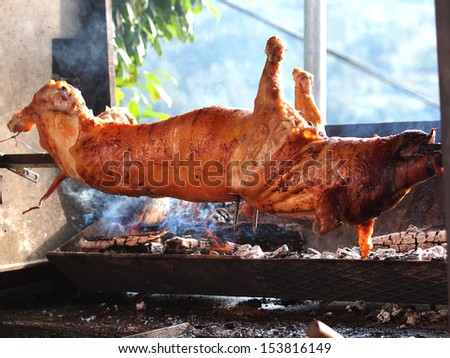 свинья продовольствие огня обеда молодые жира Сток-фото © smuki