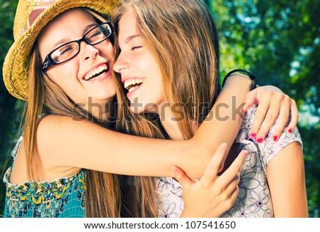 связь · девочек · два · изолированный · белый · любви - Сток-фото © is2