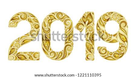 Colored Decorative 2019 Inscription, Doodle Design Elements Stock photo © lissantee