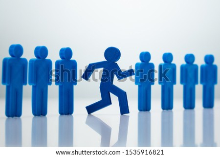Go-Getter Running Man Standing Out From Line Stock photo © AndreyPopov