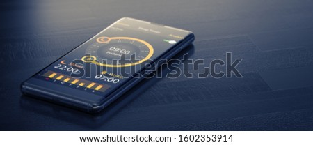 A Single Mobile Phone With Healthcare Application On Wooden Dark Grey Table Foto stock © Tashatuvango