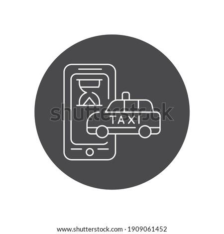 Espera tempo on-line táxi ícone vetor Foto stock © pikepicture