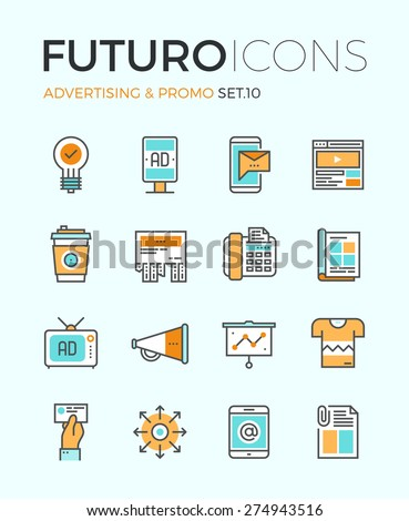 Outdoor Media Advertising Promo Icons Set Vector Stock photo © pikepicture