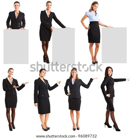 Full length of businesswoman showing copyspace stock photo © stockyimages