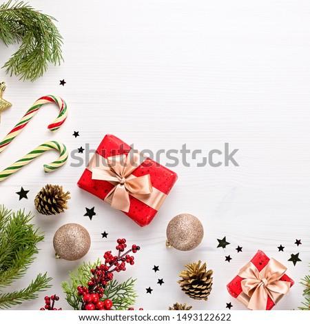 Christmas concept with decoration and giftbox Stock photo © tetkoren
