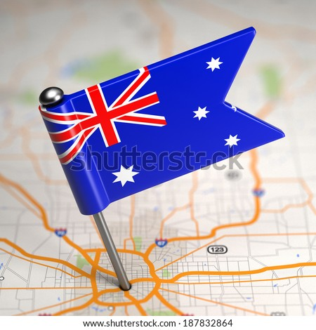 Australia Small Flag on a Map Background. Stock photo © tashatuvango