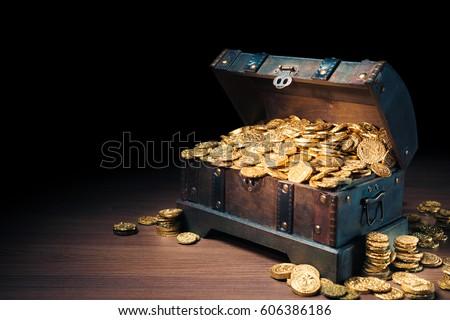 fa · mellkas · tele · arany · érmék · terv · fém - stock fotó © loopall