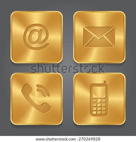 Phone golden Vector Icon Design Stock photo © rizwanali3d