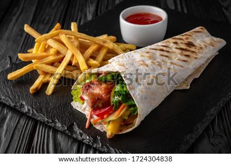 hús · fából · készült · paradicsom · ebéd · bárány · barbeque - stock fotó © Digifoodstock