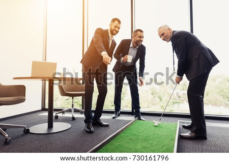 zakenman · spelen · golf · business · man · sport - stockfoto © is2