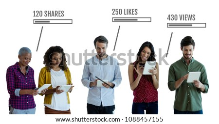 People on tablets with likes, views and Shares status bars Stock photo © wavebreak_media