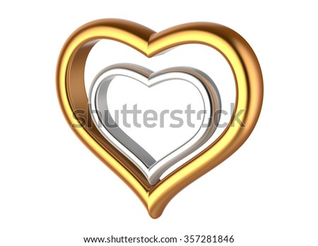 Couple of Chained Heart Shaped Rings 3D Illustration Stock photo © make