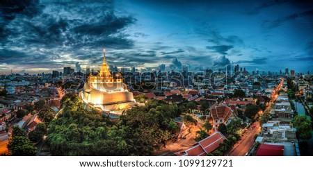 寺 バンコク パノラマ タイ 夏 日 ストックフォト © bloodua
