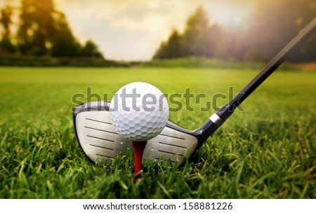 мяч · для · гольфа · зеленая · трава · Blue · Sky · небе · спорт · пейзаж - Сток-фото © photocreo