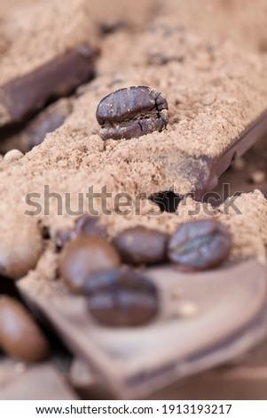 Lezzetli kahve çekirdekleri yakın birlikte tarçın Stok fotoğraf © justinb