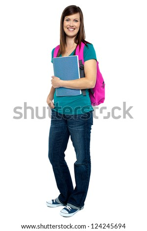 Pretty college student carrying pink backpack Stock photo © stockyimages