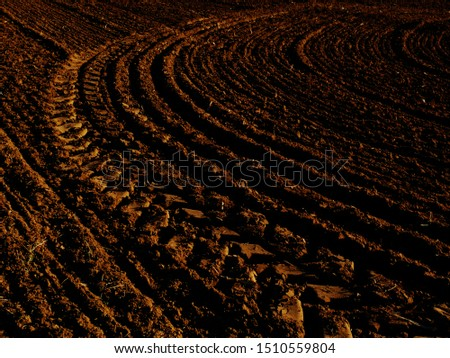 freshly plowed field with marks of tire Stock photo © meinzahn