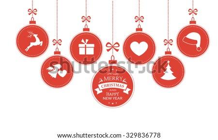 Christmas Balls With Hearts Stockfoto © wenani