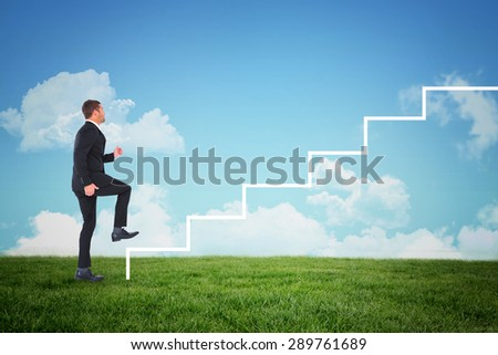 composite image of businessman walking with his leg up stock photo © wavebreak_media