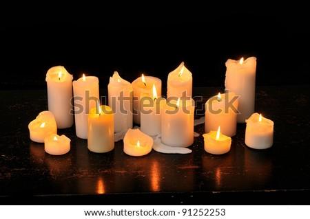 Velas ardente cemitério mão luz Foto stock © smuki